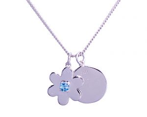 Daisy Disc Necklace - Sterling Silver with Blue Topaz