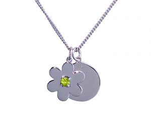 Daisy Disc Necklace - Sterling Silver with Peridot
