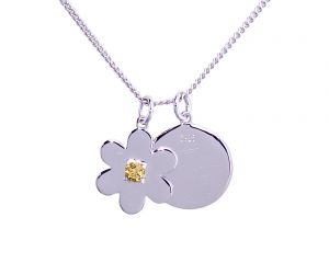 Daisy Disc Necklace - Sterling Silver with Citrine