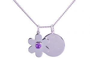 Daisy Disc Necklace - Sterling Silver with Amethyst