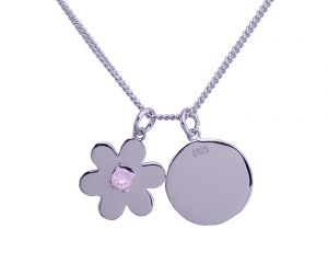 Daisy Disc Necklace - Sterling Silver with Rose Quartz