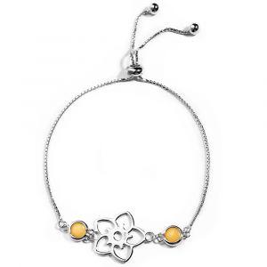 Frangipani Flower Bracelet - 2 round Yellow Marble - Sterling Silver