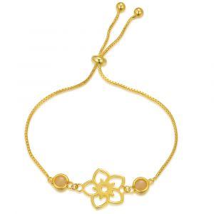 Frangipani Flower Bracelet - 2 round Yellow Marble - Yellow Gold