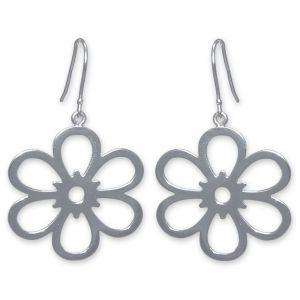 Open Daisy Flower Earrings - Sterling Silver