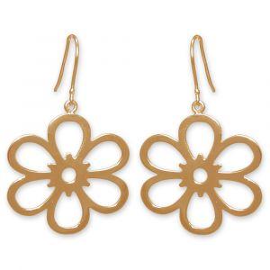 Open Daisy Flower Earrings - Yellow Gold