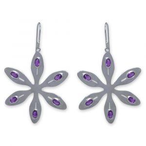 Agapanthus Flower Earrings - Purple Amethyst - Sterling Silver