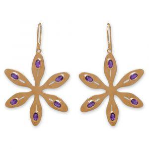 Agapanthus Flower Earrings - Purple Amethyst - Yellow Gold