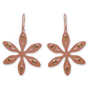 Agapanthus Flower Earrings - Orange Citrine - Rose Gold