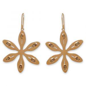 Agapanthus Flower Earrings - Orange Citrine - Yellow Gold