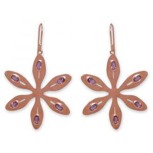 Agapanthus Flower Earrings - Rose Quartz - Rose Gold