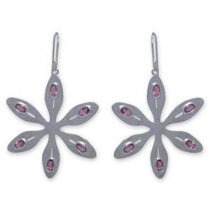 Agapanthus Flower Earrings - Rose Quartz - Sterling Silver