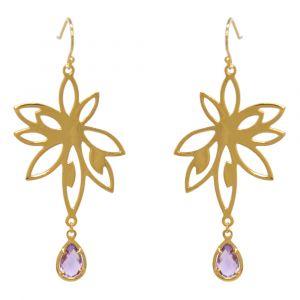 Bromelia Flower Earrings - Purple Amethyst - Yellow Gold