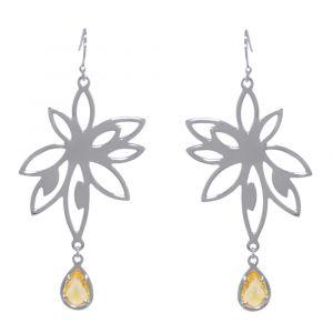 Bromelia Flower Earrings - Orange Citrine - Sterling Silver