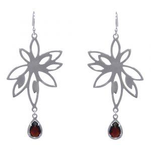 Bromelia Flower Earrings - Red Garnet - Sterling Silver