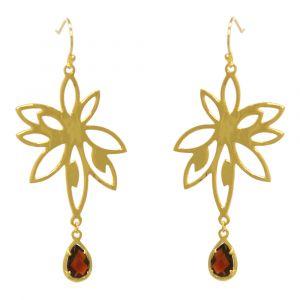 Bromelia Flower Earrings - Red Garnet - Yellow Gold