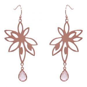 Bromelia Flower Earrings - Rose Quartz - Rose Gold