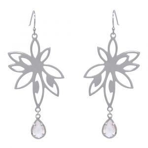 Bromelia Flower Earrings - Rose Quartz - Sterling Silver