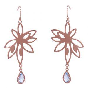 Bromelia Flower Earrings - Blue Topaz - Rose Gold