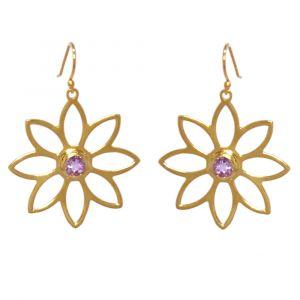 Namaqua Daisy Flower Earrings - Purple Amethyst -Yellow Gold