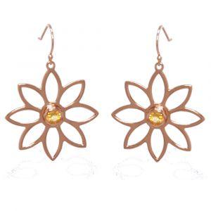 Namaqua Daisy Flower Earrings - Orange Citrine - Rose Gold
