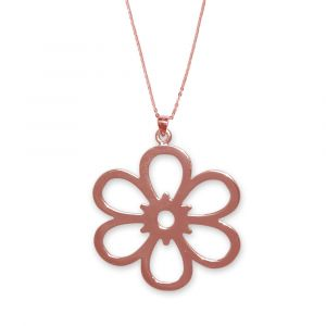 Open Daisy Flower Necklace - Rose Gold