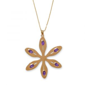Agapanthus Flower Necklace - Purple Amethyst - Yellow Gold