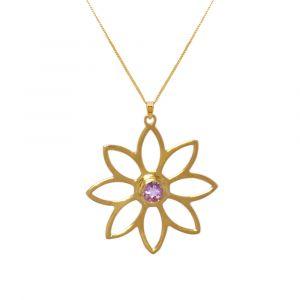 Namaqua Daisy Flower Necklace - Purple Amethyst - Yellow Gold