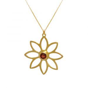 Namaqua Daisy Flower Necklace - Red Garnet - Yellow Gold