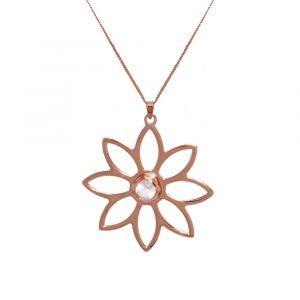 Namaqua Daisy Flower Necklace - Rose Quartz - Rose Gold