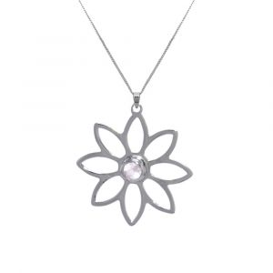 Namaqua Daisy Flower Necklace - Rose Quartz - Sterling Silver