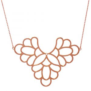 Freesia Flower Big Necklace - Rose Gold
