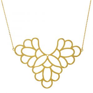 Freesia Flower Big Necklace - Yellow Gold