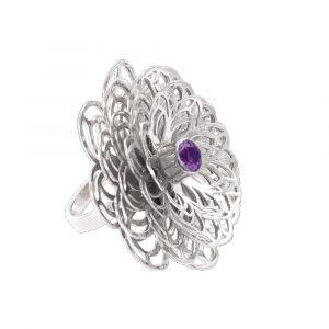 Dahlia Flower Ring - Purple Amethyst - Sterling Silver