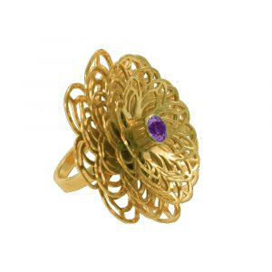 Dahlia Flower Ring - Purple Amethyst - Yellow Gold