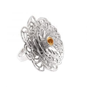 Dahlia Flower Ring - Orange Citrine - Sterling Silver