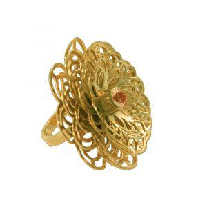 Dahlia Flower Ring - Orange Citrine - Yellow Gold