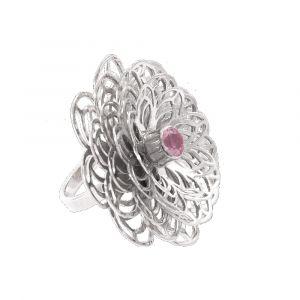 Dahlia Flower Ring - Rose Quartz - Sterling Silver