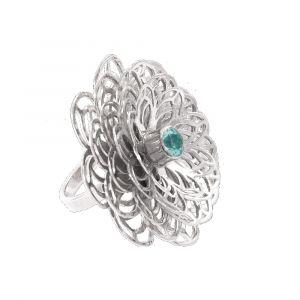 Dahlia Flower Ring - Blue Topaz - Sterling Silver