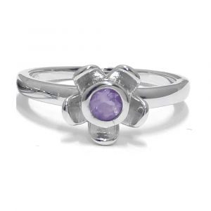 Forget Me Not Flower Ring - Purple Amethyst - Sterling Silver