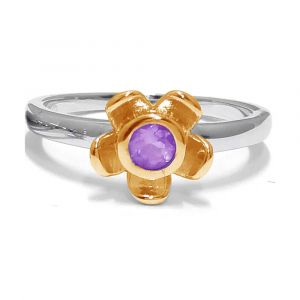 Forget Me Not Flower Ring - Purple Amethyst - Yellow Gold