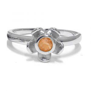 Forget Me Not Flower Ring - Orange Citrine - Rose Gold