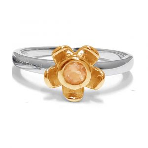 Forget Me Not Flower Ring - Orange Citrine - Yellow Gold