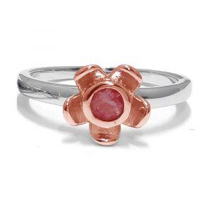 Forget Me Not Flower Ring - Red Garnet - Rose Gold