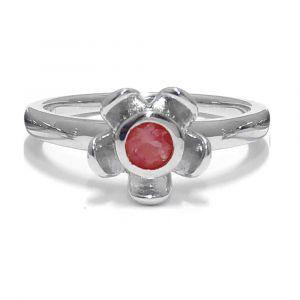 Forget Me Not Flower Ring - Red Garnet - Sterling Silver
