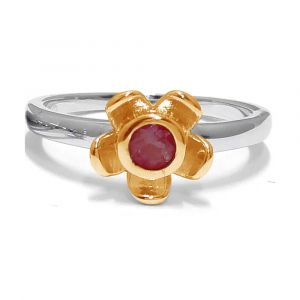 Forget Me Not Flower Ring - Red Garnet - Yellow Gold