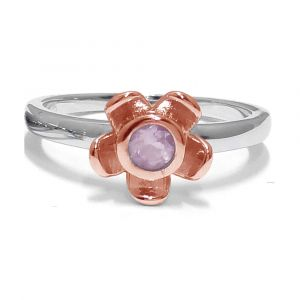 Forget Me Not Flower Ring - Rose Quarts - Rose Gold