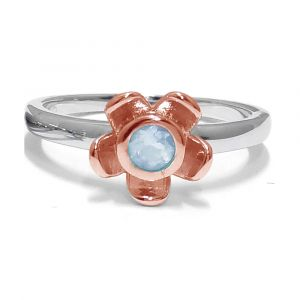 Forget Me Not Flower Ring - Blue Topaz- Rose Gold