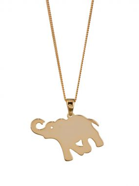 Elephant pendant on a Necklace - Yellow Gold