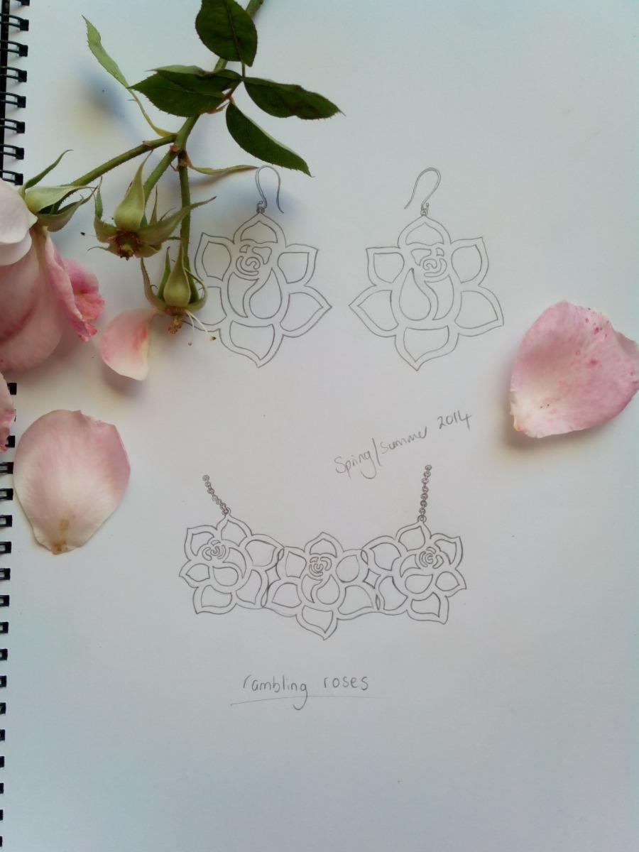 Rose Earings Sketching