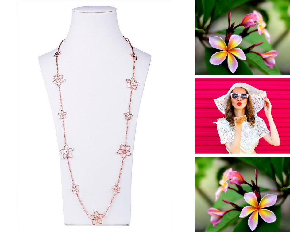 Frangipani station necklaces are a mixture of two sizes of Frangipani flowers evenly spaced on a station necklace.